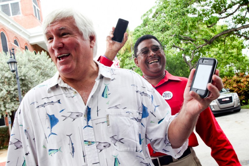 Former Democratic House Minority Leader of the Florida House of Representatives Ron Saunders and Key West City Commissioner Clayton Lopez show us their text in their support of Key West Art & Historical Society for the Knight Arts Challenge.